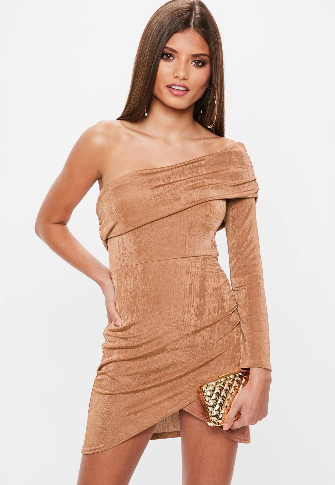 brown-slinky-one-shoulder-overlay-dress