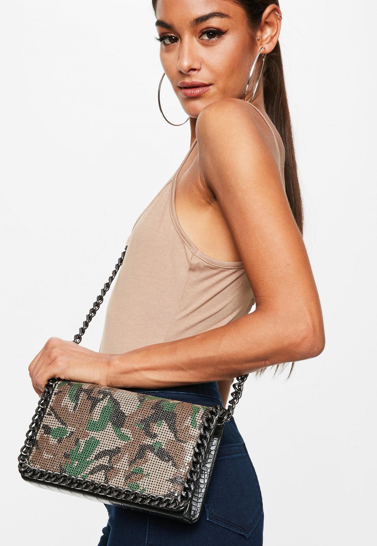 khaki-camo-chain-cross-body-bag