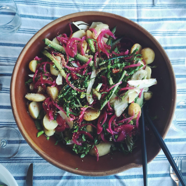 Grøn salat med små kartofler, syltede rødløg og fennikel