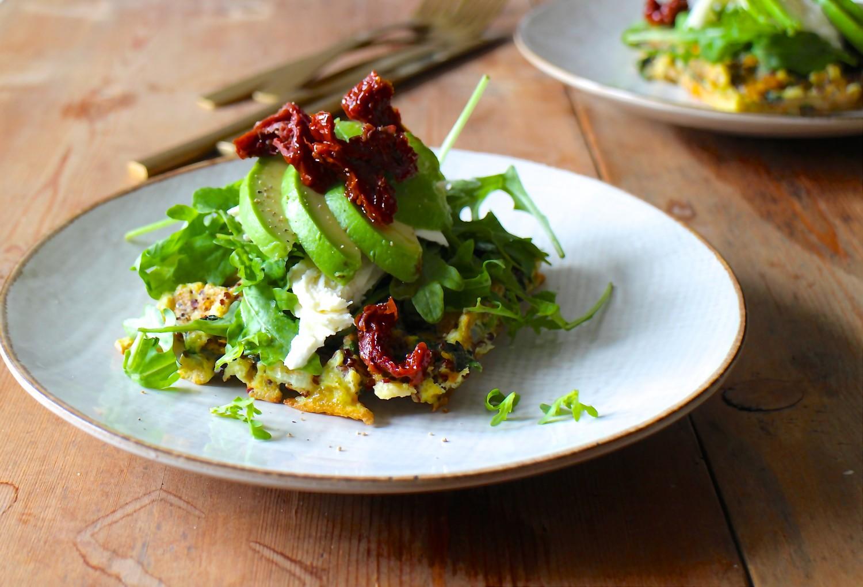 Quinoavafler med spinat og ost