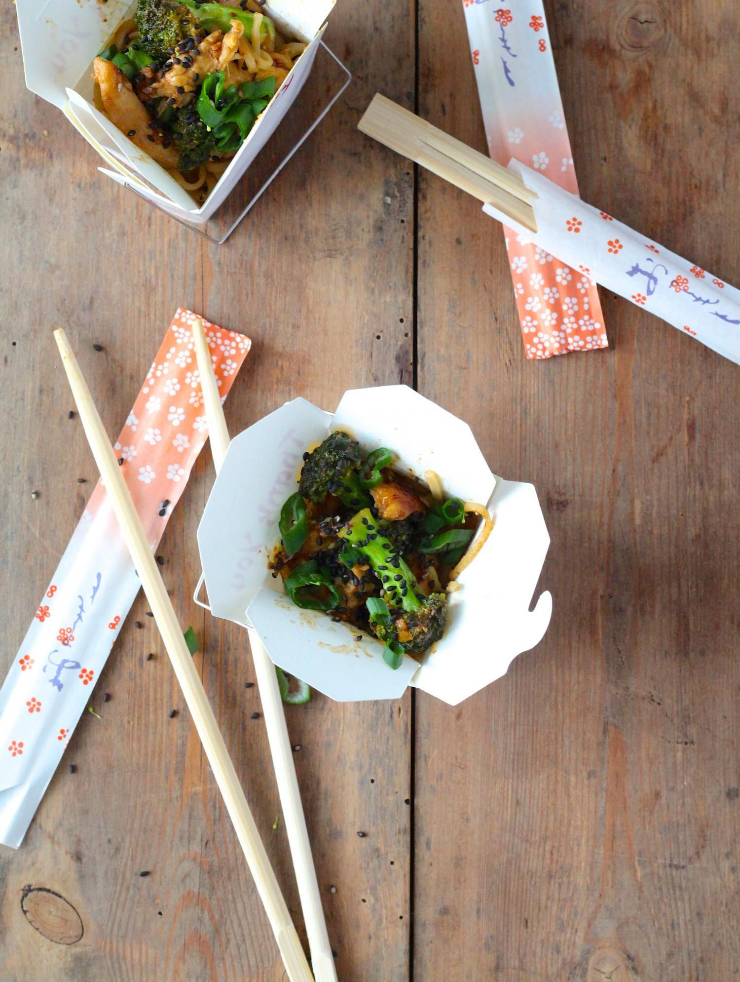 Nudler med kylling og broccoli