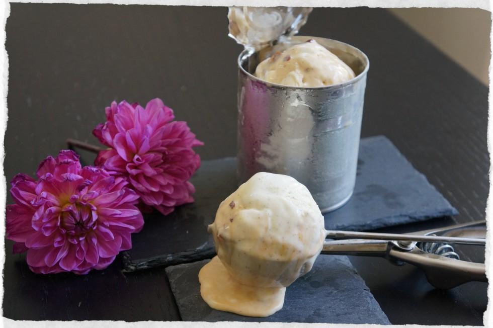 Homemade gelato with caramel