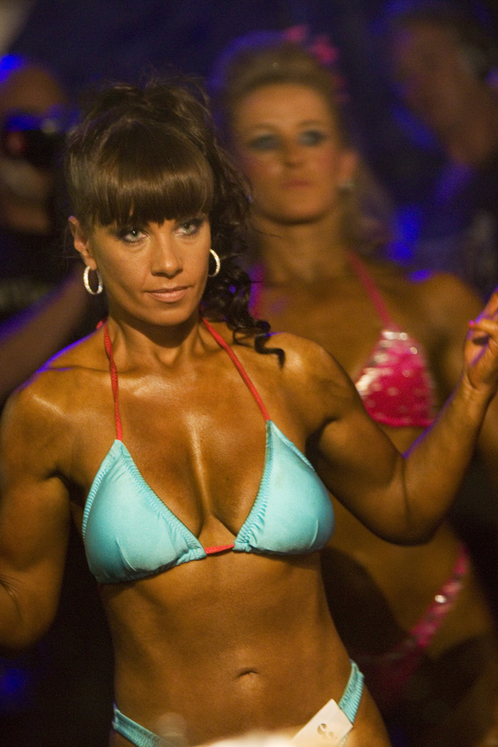 Danish model Kira Eggers Competing at BNBF Body Building Championships - Derby, UK, 29/07/12 Preparing to go Onstage