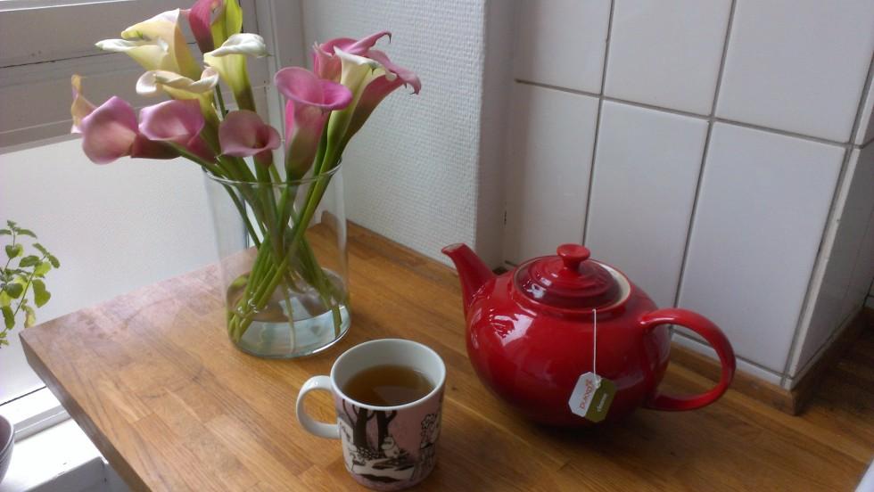 Jeg elsker at sidde på sofaen og drikke te under dynen, når det regner udenfor. Tekanden er fra Le Creuset, vasen fra IKEA og koppen er en Mumi kop fra Arabia Finland