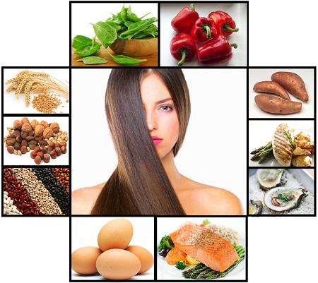 Spis varieret og spis især fødevarer der indeholder mange B-vitaminer Billedet er fra http://www.healthyfoodhouse.com/foods-for-healthy-hair/