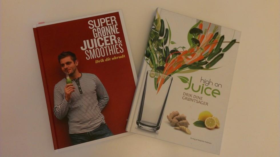 """""""High on juice"""" og """"Super grønne juicer og smoothies"""" er begge skrevet af Mads Bo Pedersen og kan købes både på nettet og hos boghandleren."""