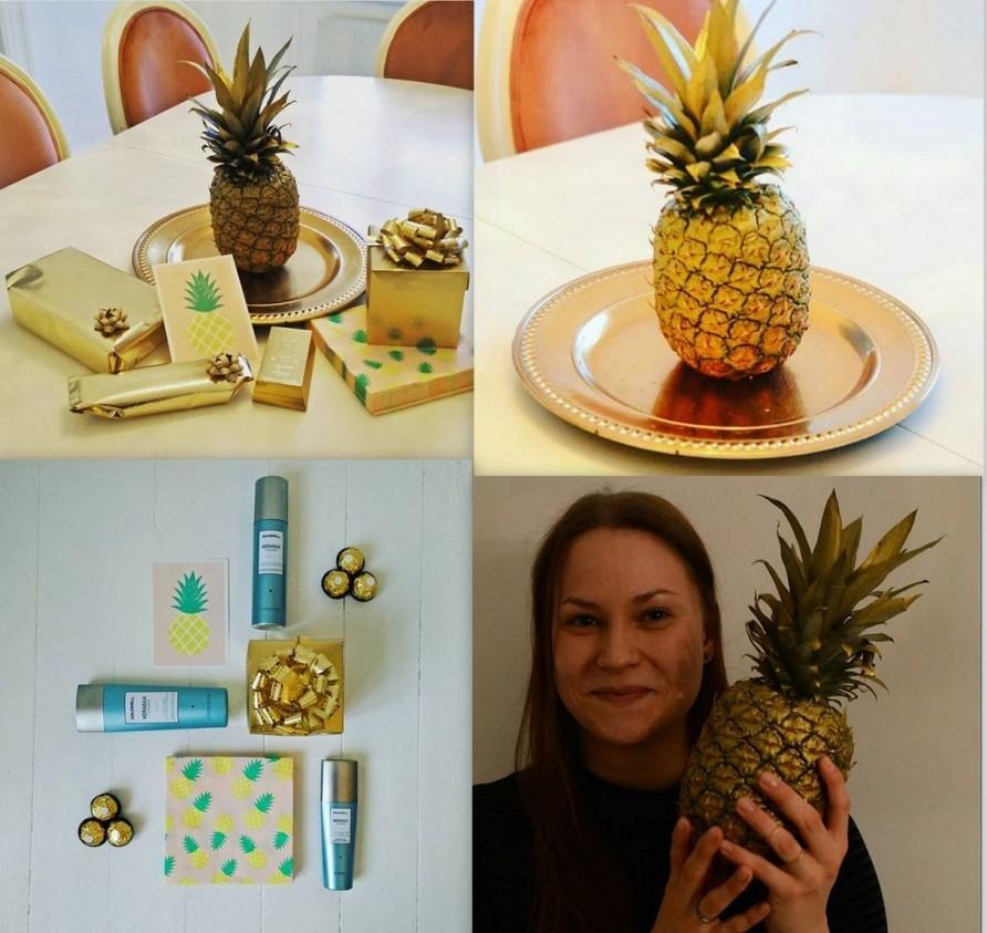guld, guld, guld, ananas, guldananas, golden pineapple, fødselsdag, gave
