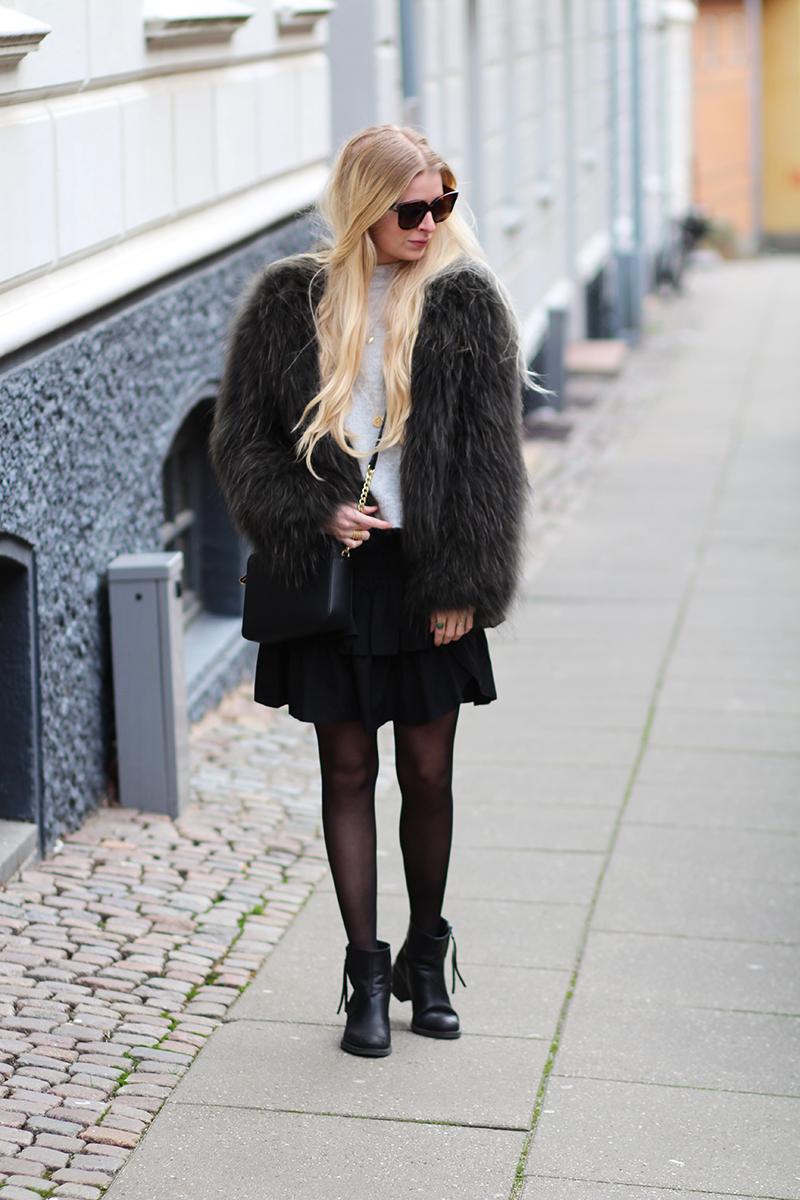 vigtig info om bloggens julekalender 2015 outfit Meotine racoon fur grøn flaskegrøn Céline New Audrey solbriller Michael Kors skuldertaske sort Amy Dyrholm