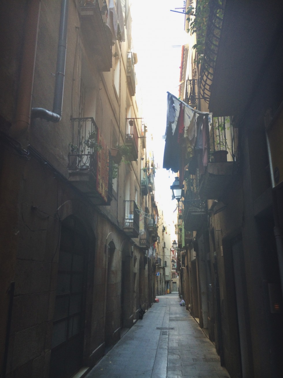 The little narrow streets in barcelona