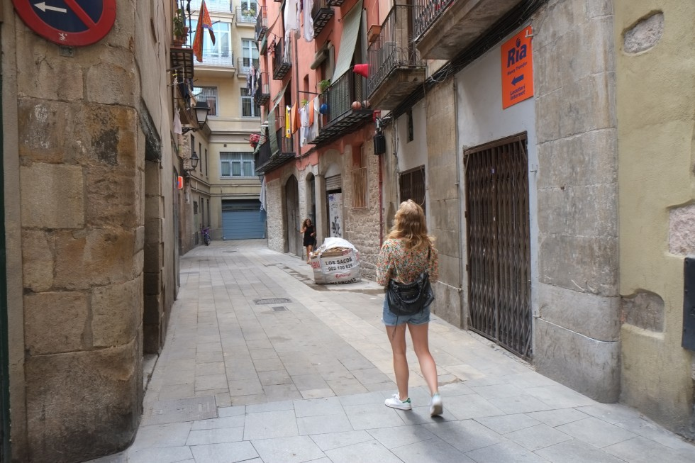 Walking in the streets of barcelona