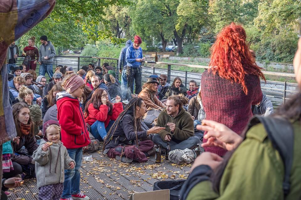 Crowd listening to street music in Berlin Turkish Market