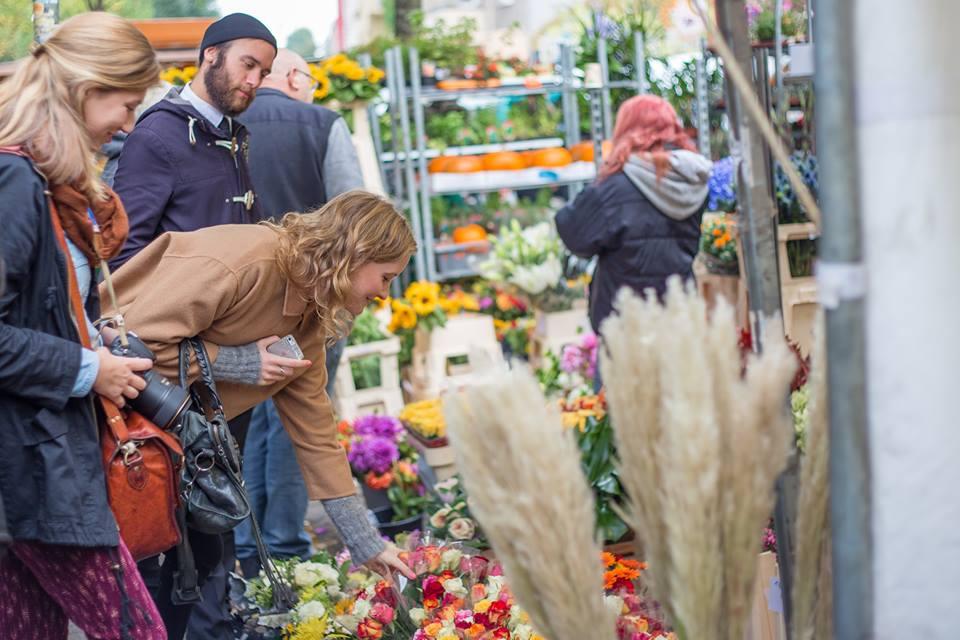Looking at flowers Turkish Market berlin