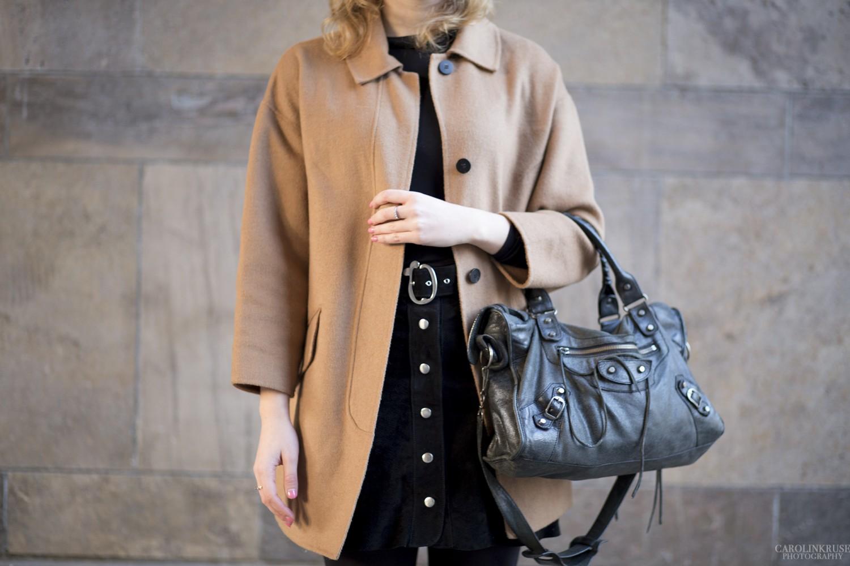 Brown jacket balenciaga bag