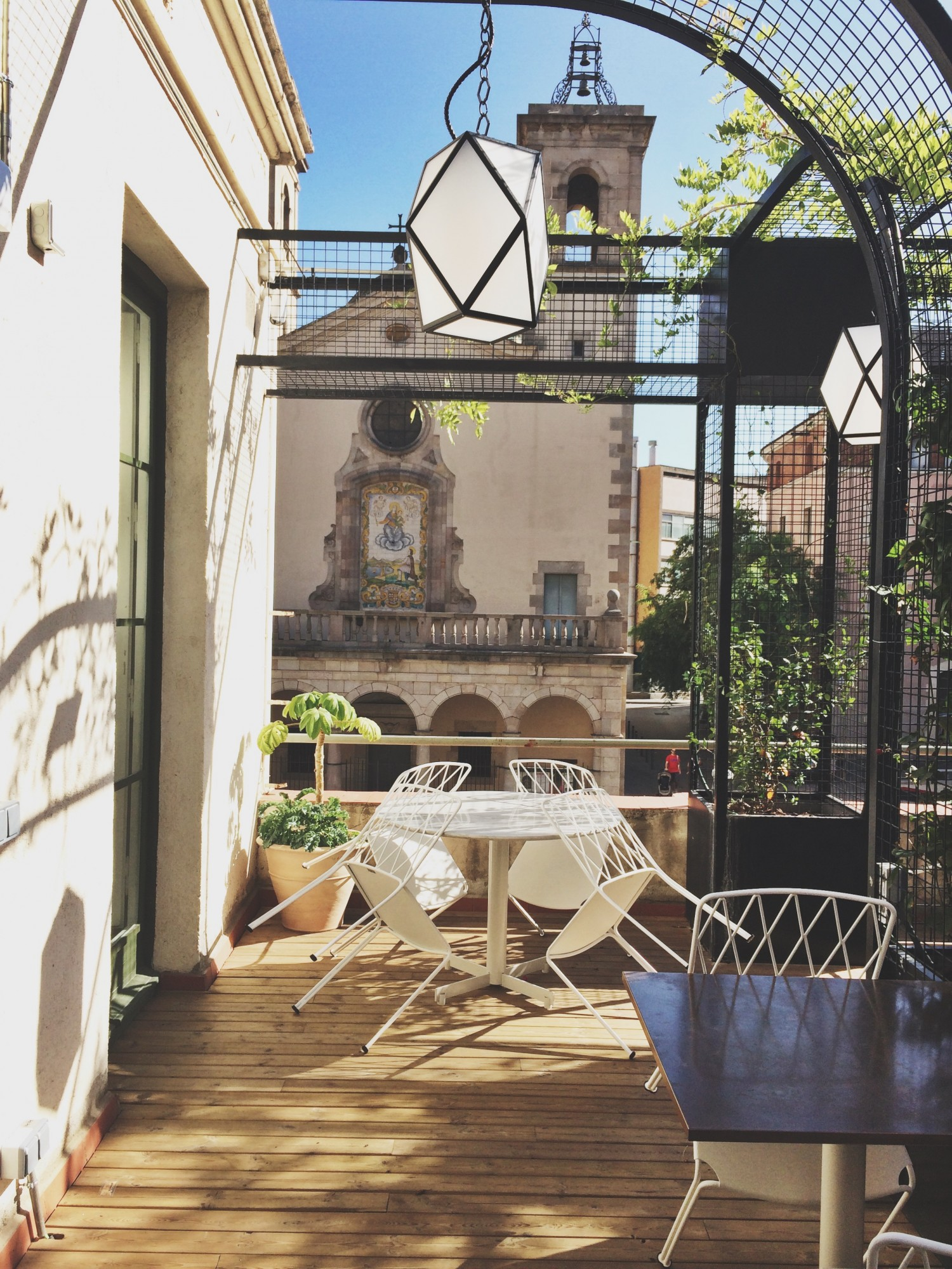 Cutest rooftop at Flax and Kale vegan restaurant in barcelona