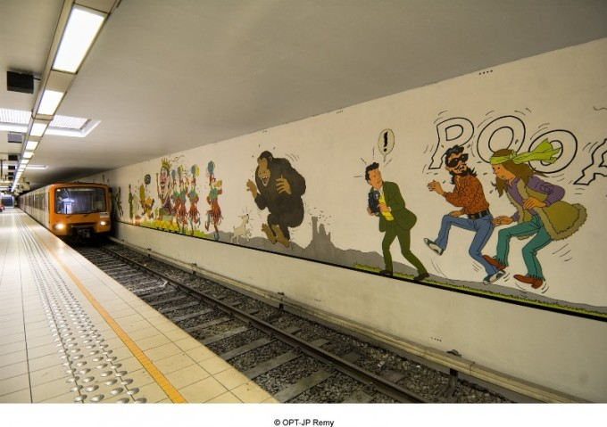 Métro Stockel - fresque Tintin