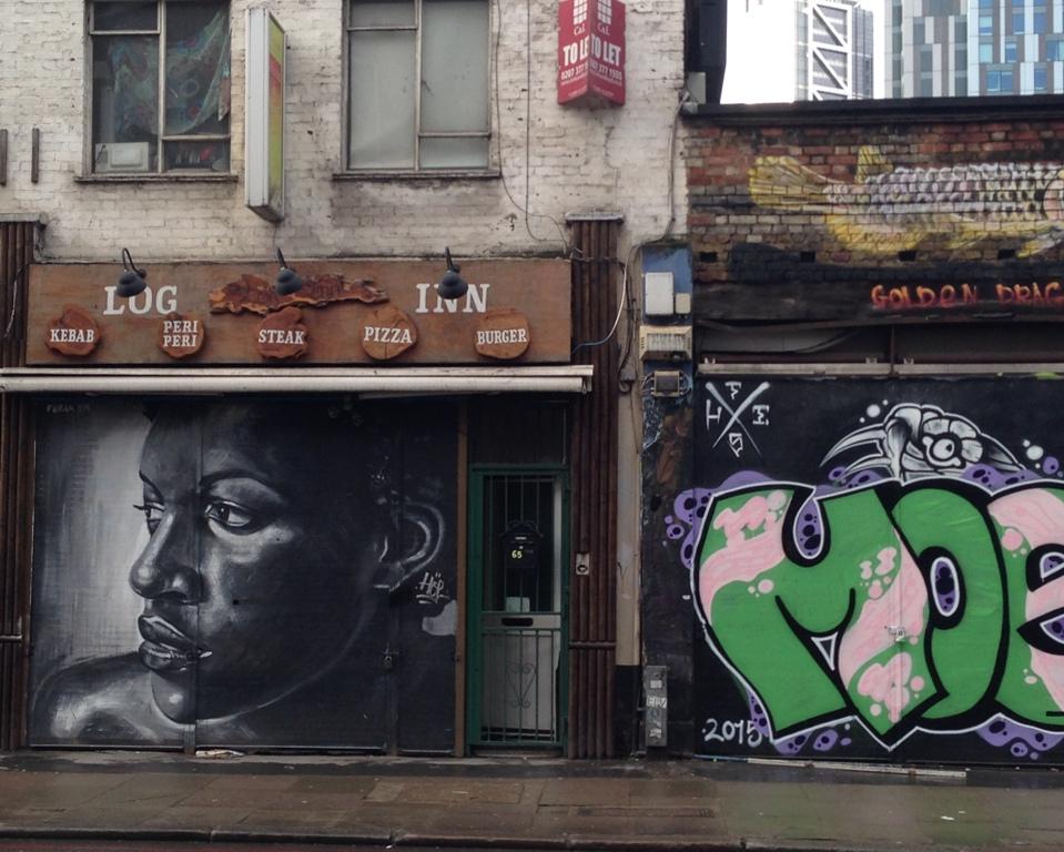 StreetART tæt ved Brick Lane i Østlondon
