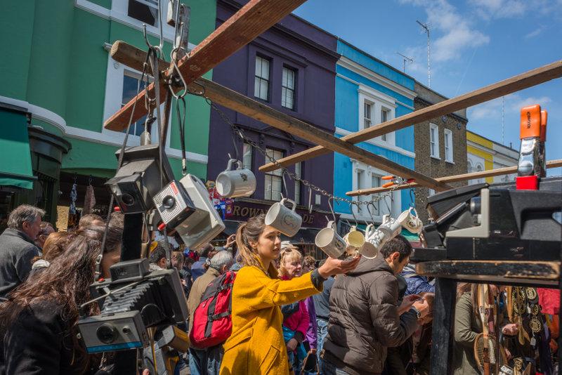 Portobello Market til artikel om shopping i London