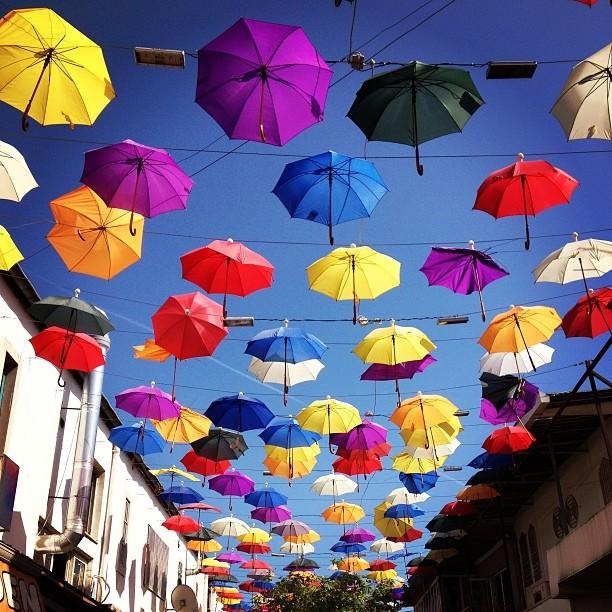 Kaleici with umbrellas in Antalya