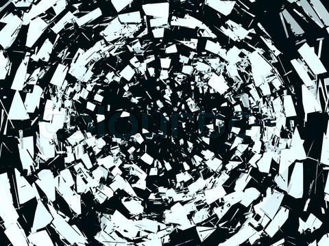 Pieces of broken mirror glass over black
