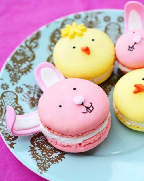 easy diy easter bunny  chick macarons homemade easter treats for kids edible favor ideas edible craf-f57663