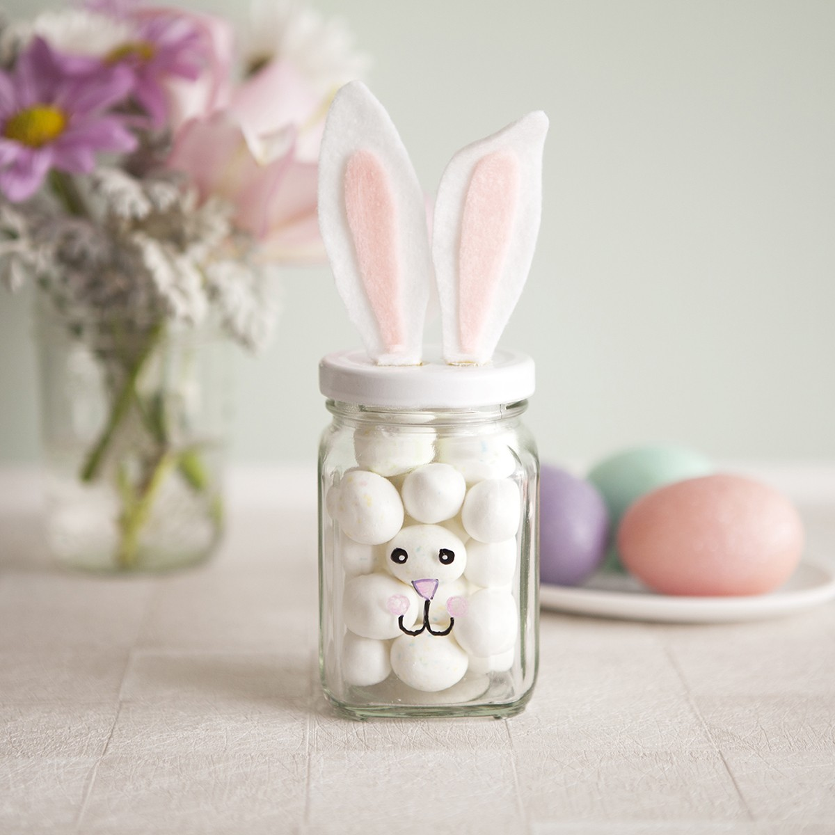 pastel easter bunny jars diy easter crafts for kids holiday gift ideas-f69397