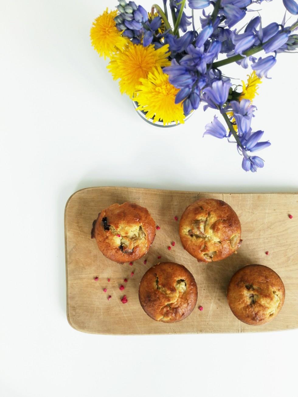 opskrift rabarbermuffins med kokosmel