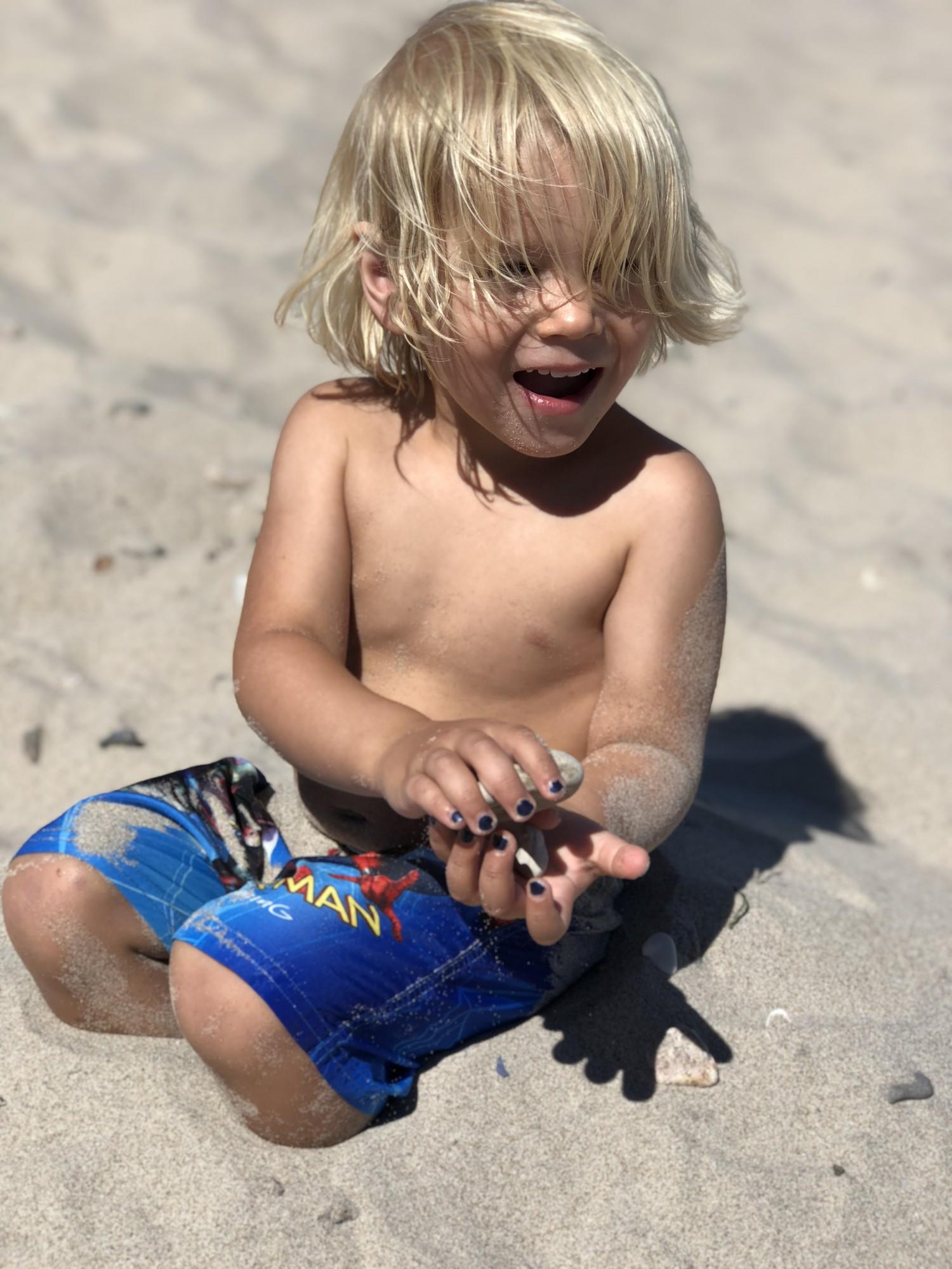 vilfred på stranden