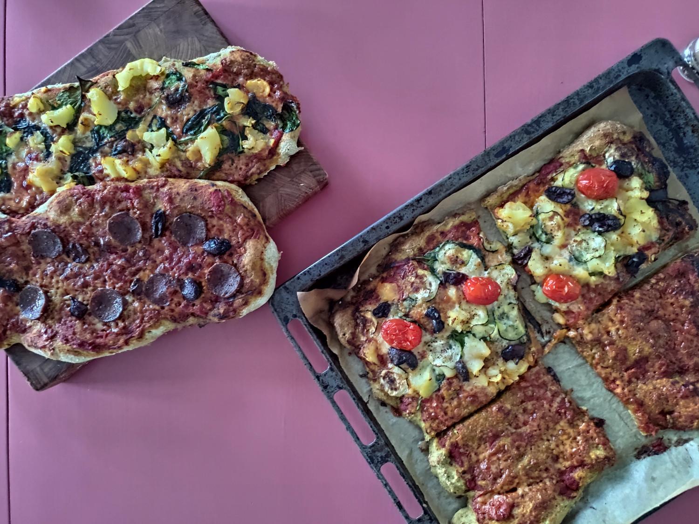 pizzabund med fuldkorn og spinat