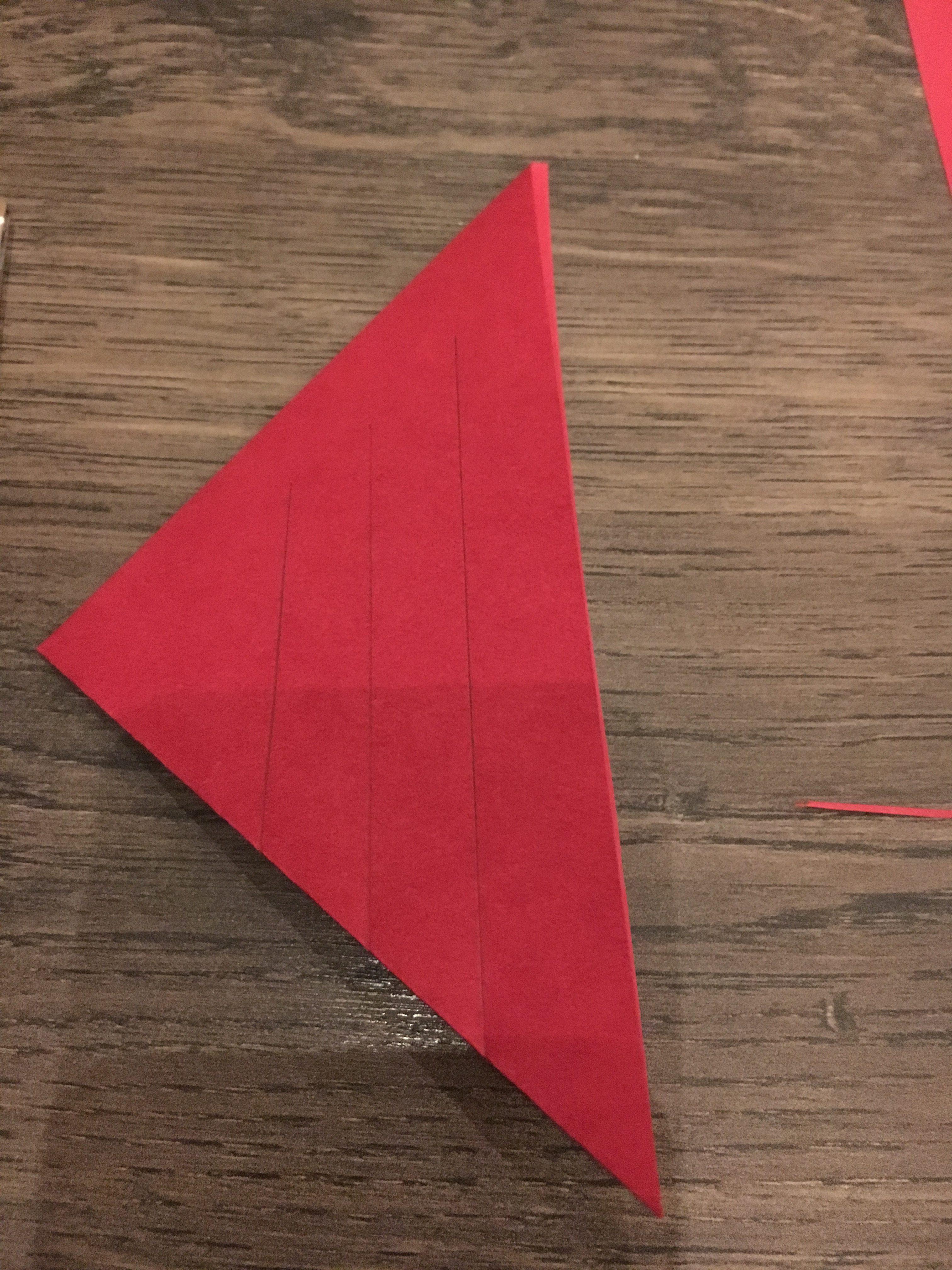 tegn 3 streger som følger den længste side og starter ved de 2 folede sider. De skal ikke rsamme kanten for oven