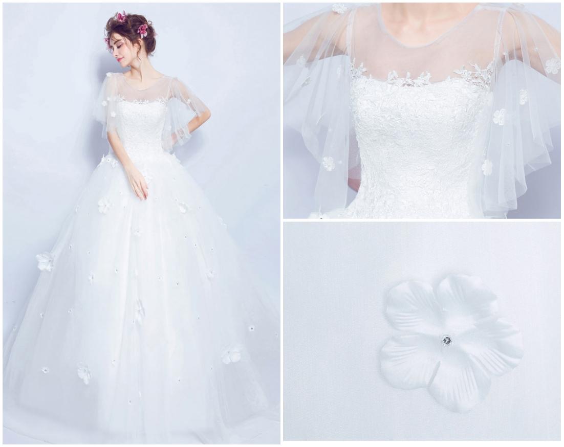 robe de mariée princesse cape fleurie