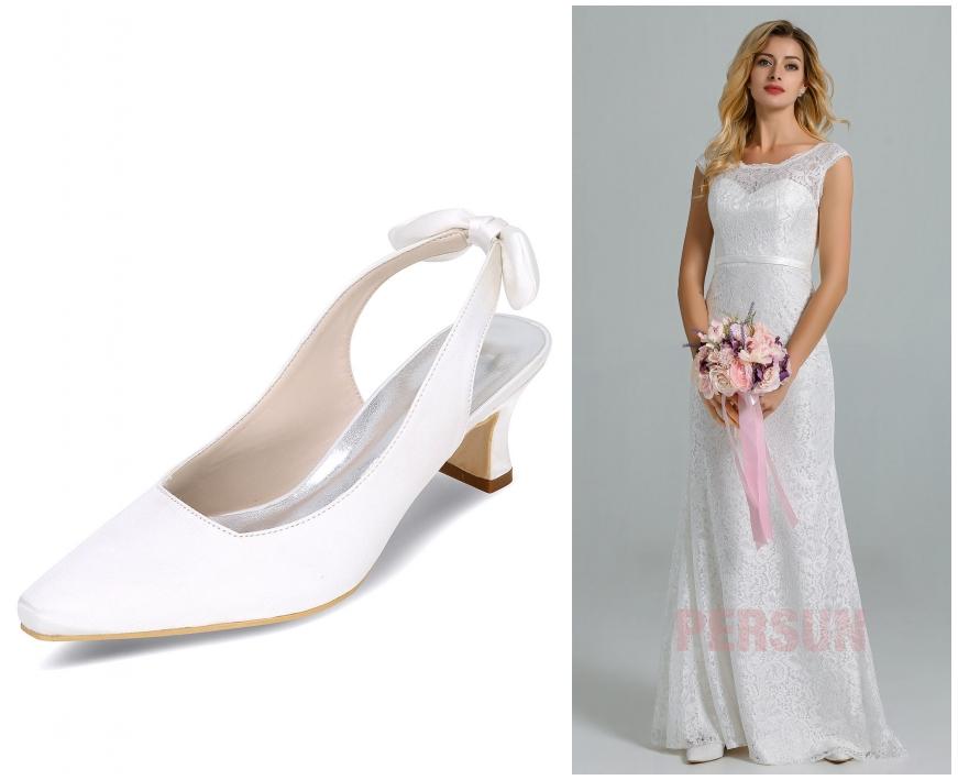 slingback chic de mariage & robe de mariée dentelle