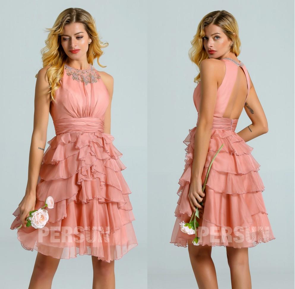 robe demoiselle d'honneur courte rose saumon dos ouvert jupe volants