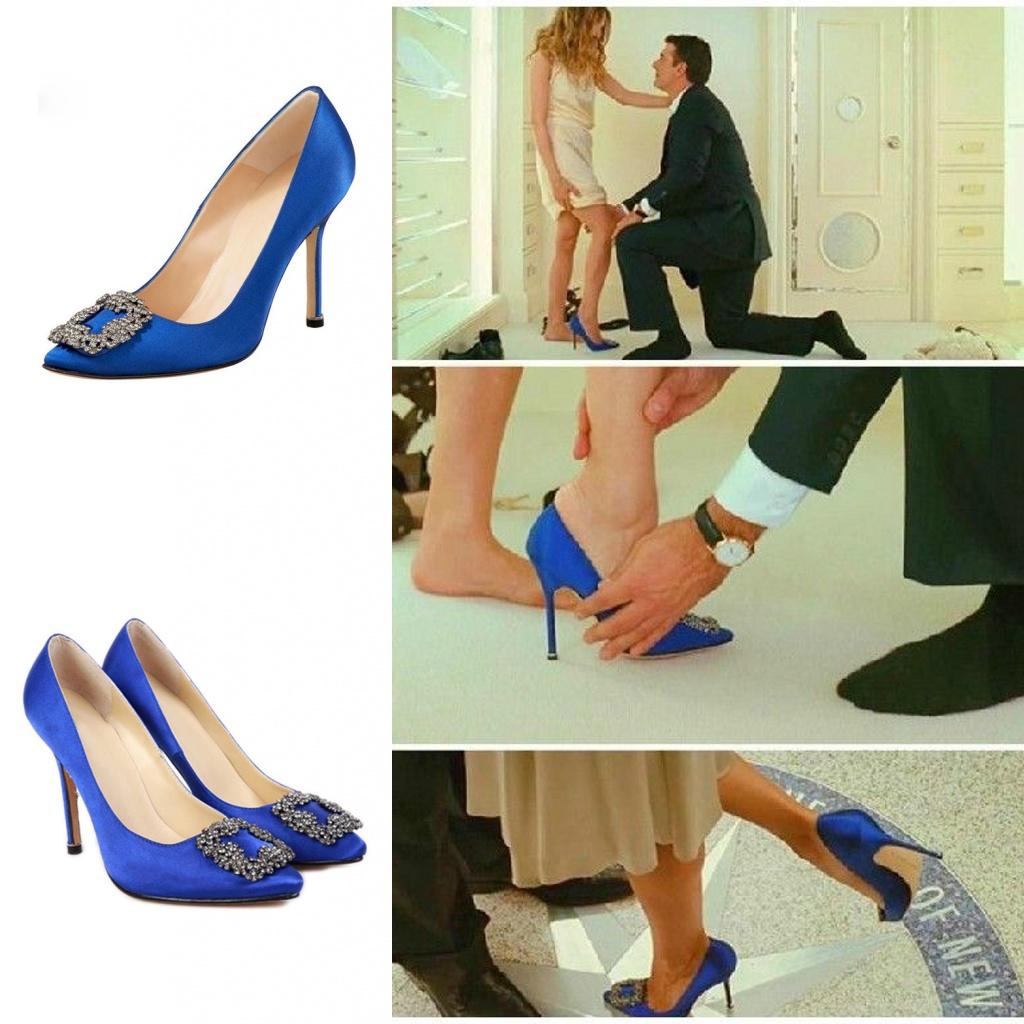 escarpin de mariage bleu royal orné de boucle de strass