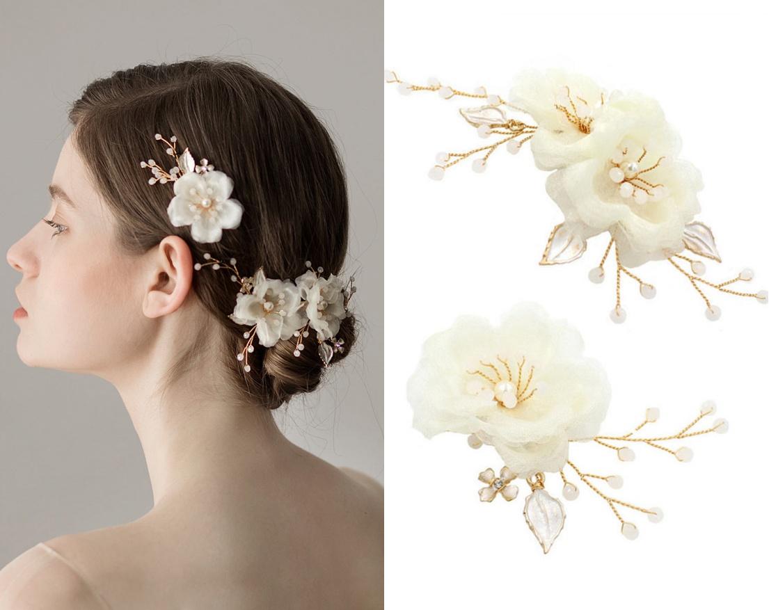 peigne cheveux florale de mariée agrémenté de perles