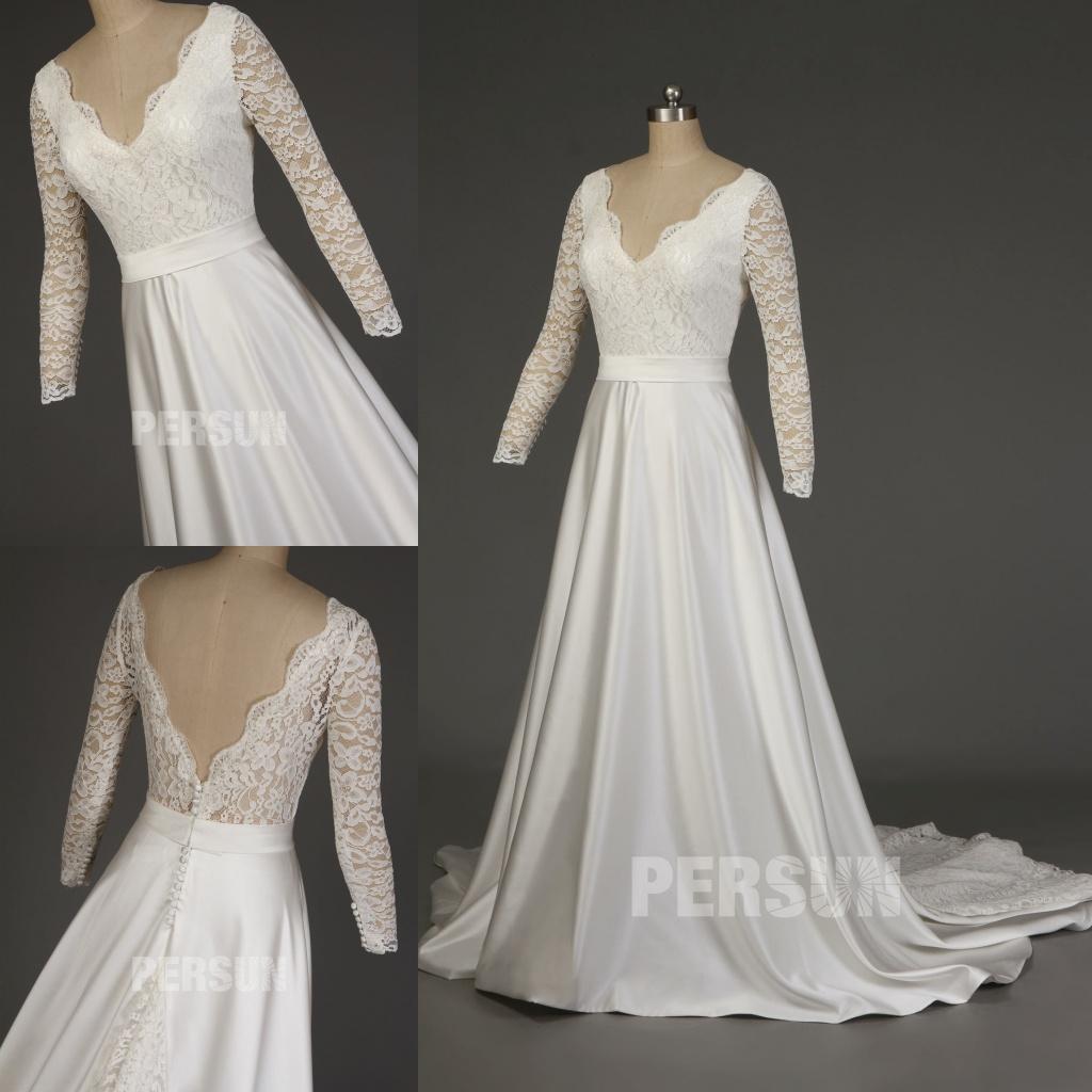 robe de mariée vintage en satin décolleté V manches longues dentelle dos échancré