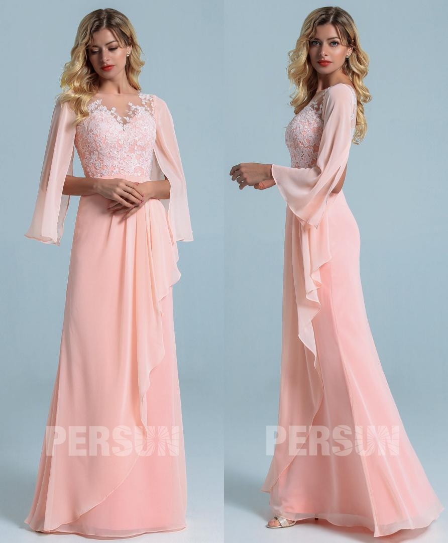robe soirée longue bohème rose perle haut dentelle avec manche cape