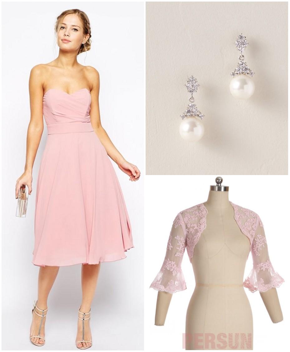 accessoires pour robe cocktail midi rose poudré bustier coeur