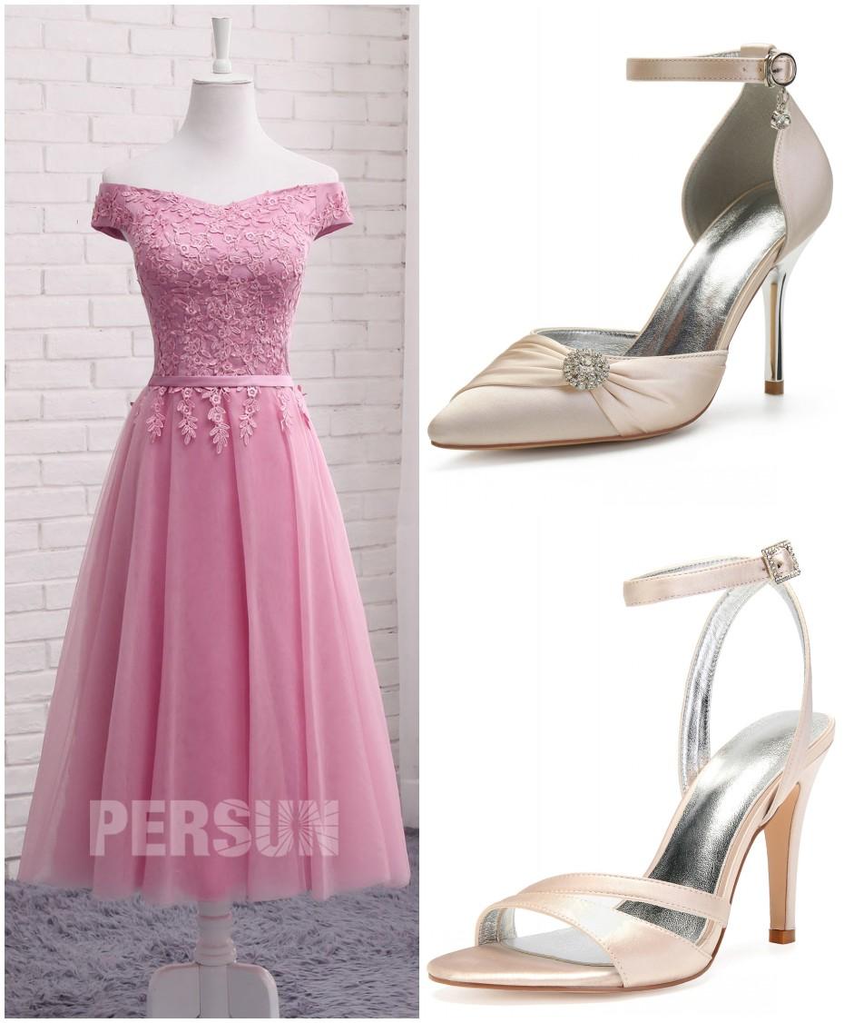 comment assortir robe midi rose col bardot pour un mariage
