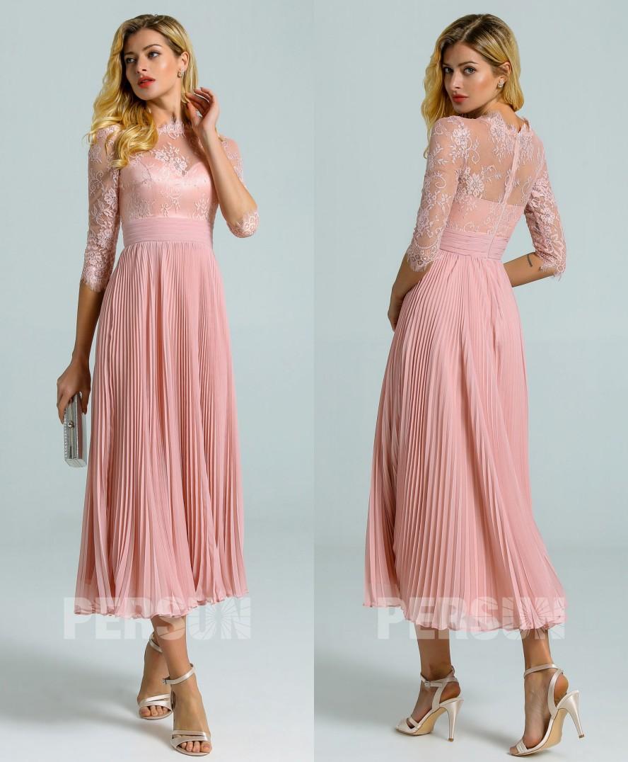 robe cocktail midi rose chair haut dentelle festonnée avec manches à jupe plissée