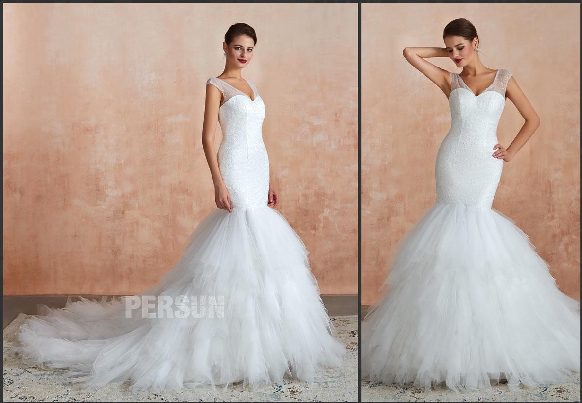 robe mariée sirène décolleté V à jupe froufrou avec traîne