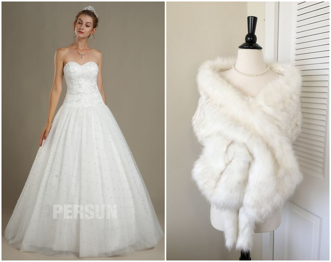robe mariée princesse bustier coeur jupe perlée avec étole de fourrure