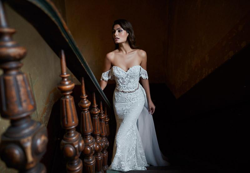 robe mariée sirène dentelle à épaule dénudée