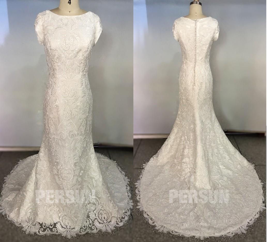 robe mariée sirène dentelle vintage à col bateau avec manches