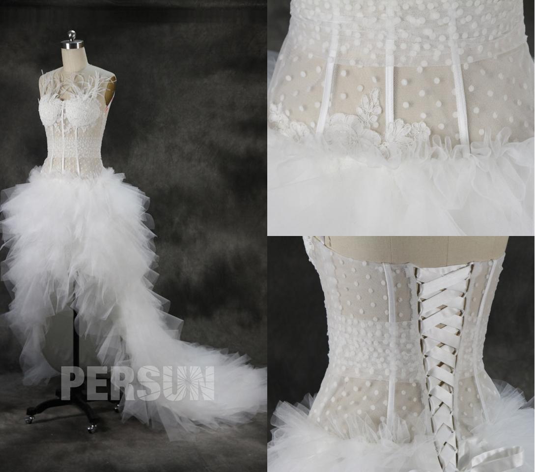 robe mariée court devant long derrière bustier transparent
