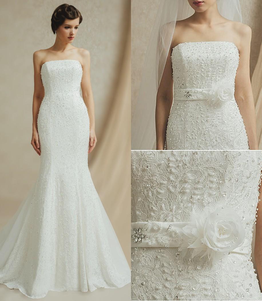 robe mariée sirène dentelle bustier droit ornée de perles