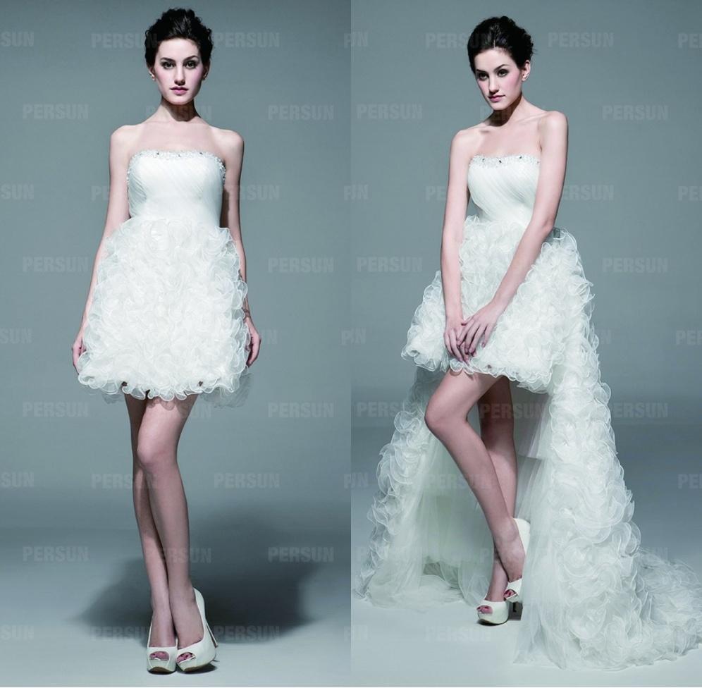 robe mariée bustier en organza à jupe détachable froufrou