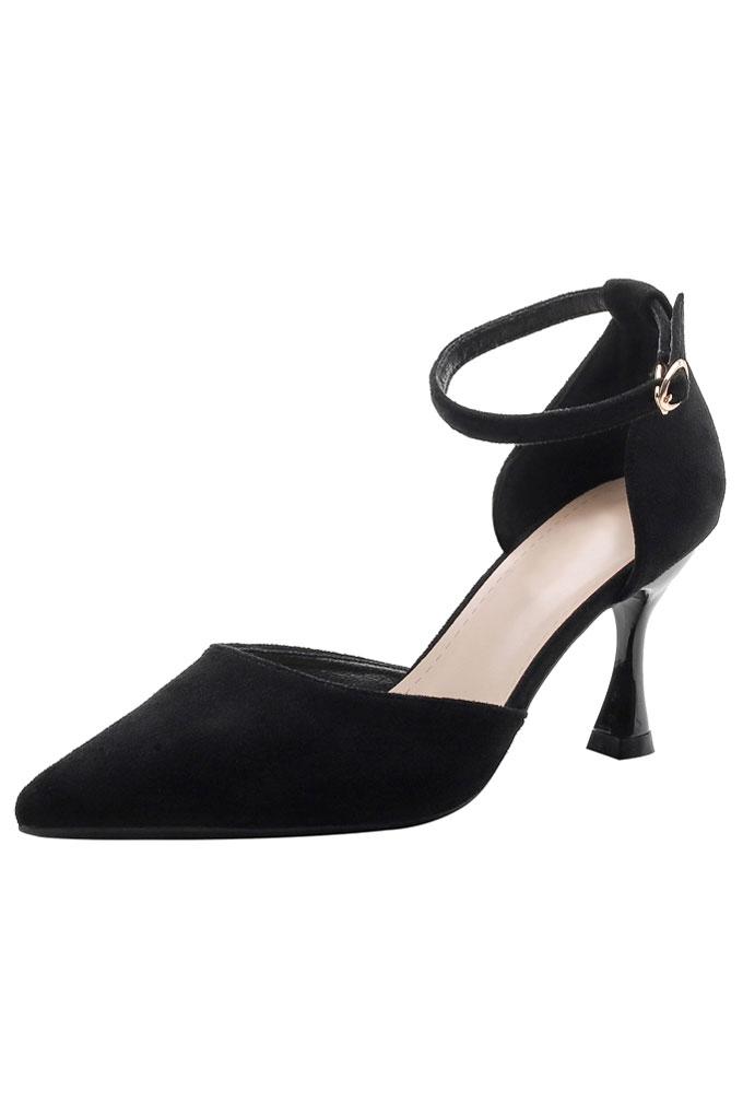 sandale noire à talons haurs bout piontu