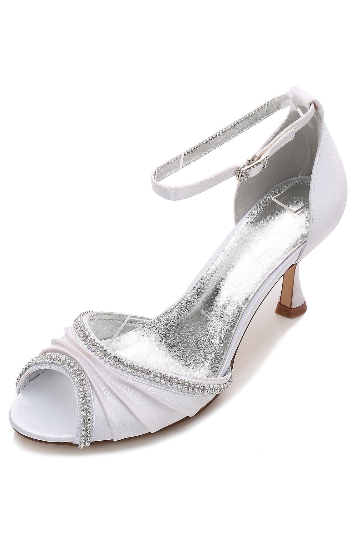 sandales de blanche à talon bout ouvert drapé
