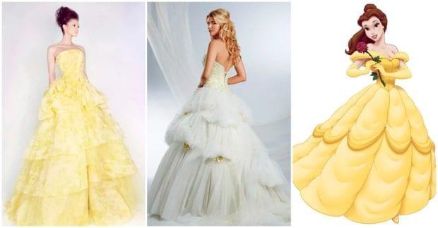 Robe de mariée jaune princesse jupe à volants