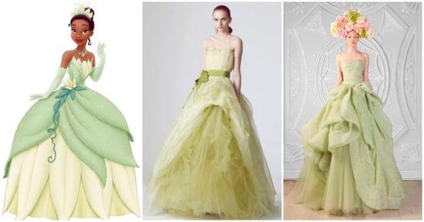 Robe de mariée princesse verte bustier jupe à volants